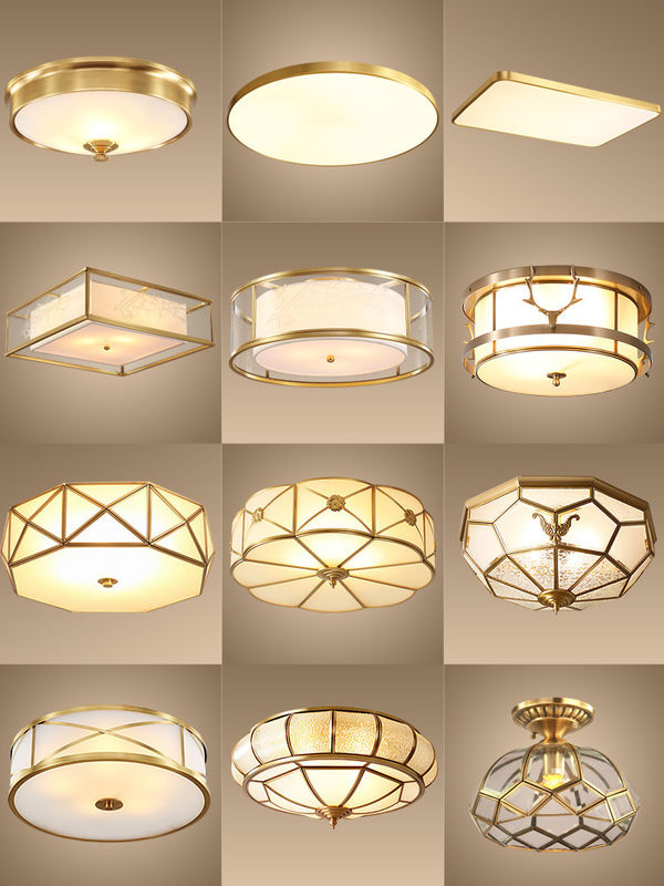 Copper Domestic LED Lighting Ceiling Lamp Glass Cover Bedroom Living 10~50W Restaurant Cafe